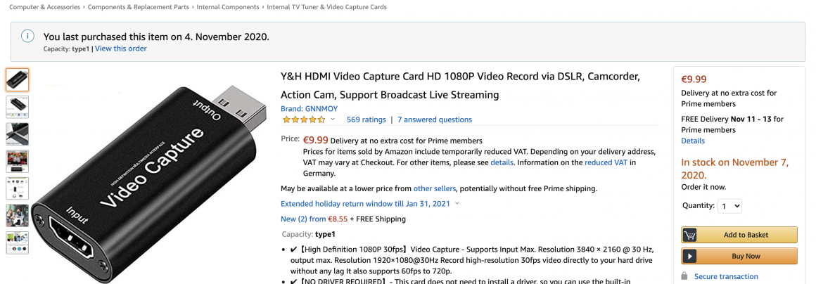 Amazon Screenshot of the HDMI Video Capture Card for 10€ - Also known as the Can'tLink