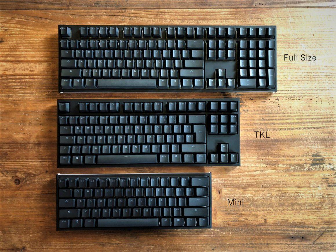 Mechanical Keyboard Sizes Comparison (Full, TKL, Mini)